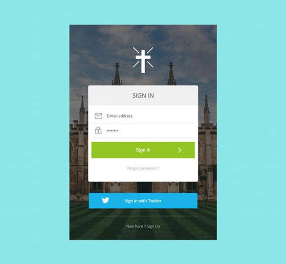 flat responsive html5 css3 sign in form for church website