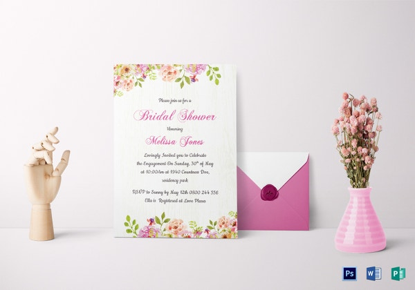 floral bridal shower invitation card template