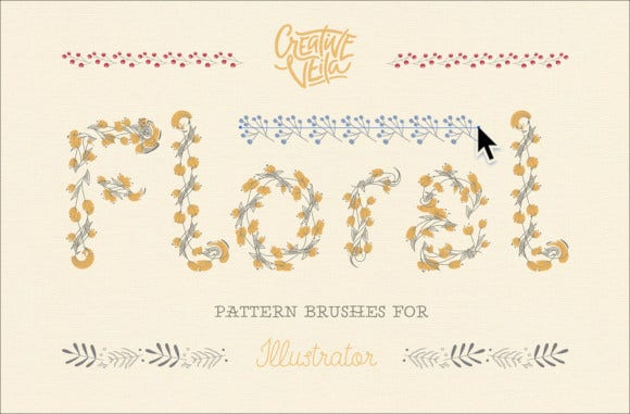 floral pattern brushes for illustrator