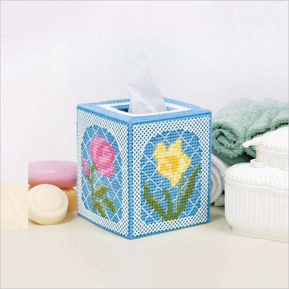 floral trellis plastic canvas tissue box cover template
