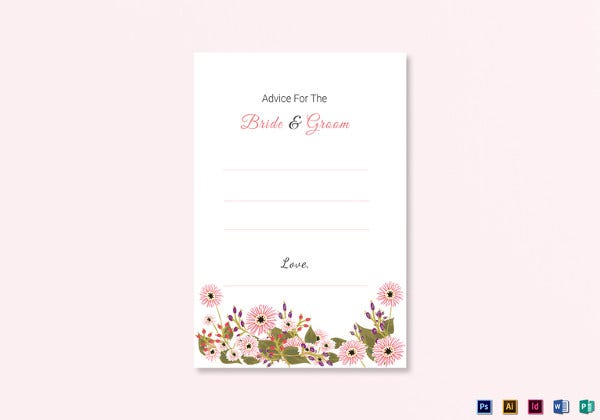 floral wedding advice card psd template