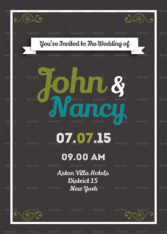floral wedding card print psd template