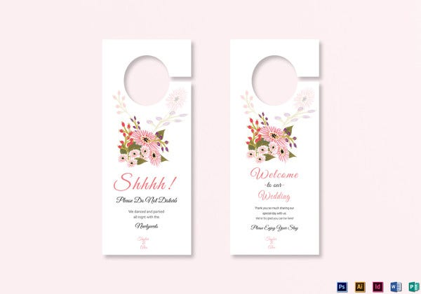 floral wedding door hanger card indesign template