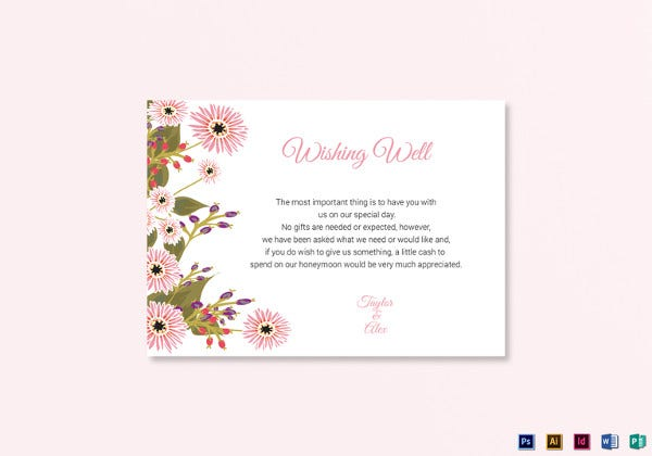 floral wedding wishing well card illustrator template