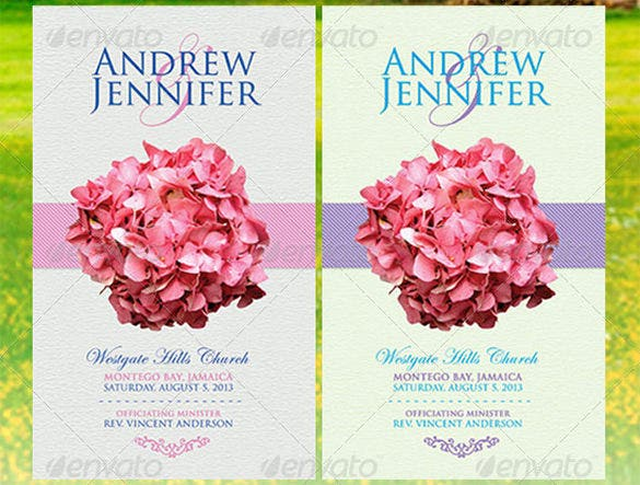 Wedding Ceremony Program Templates PSD AI InDesign PDF DOC - Floral wedding program templates