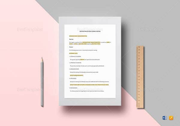 formal meeting minutes template to print