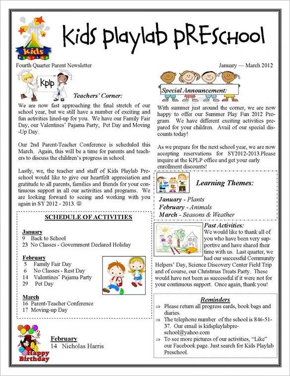 13+ Printable Preschool Newsletter Templates – Free Word, PDF Format ...
