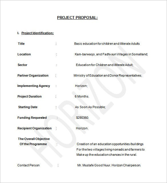 Free Project Proposal On Education Word Download