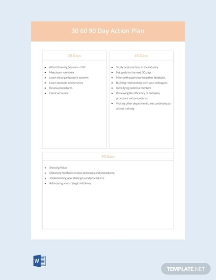 12+ 30 60 90 Day Action Plan Templates - DOC, PDF | Free