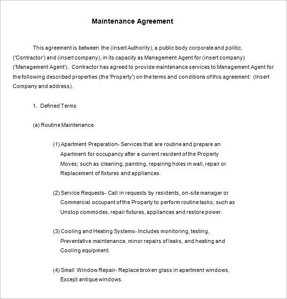 free annual maintenance contract template download - Maintenance Service Contract Sample