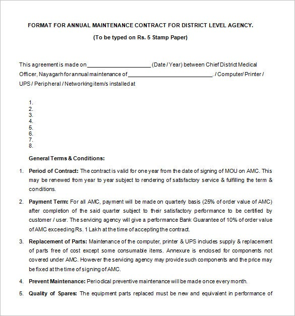 Free Annual Maintenance Legal Contract Template Download  Blank Contract Template