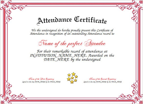 Attendance Certificate Template 24 Free Word PDF Documents – Attendance Certificates Printable