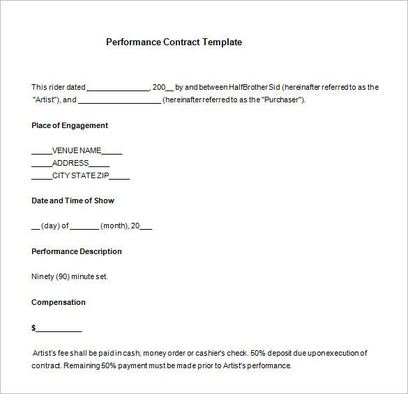 free band performance contract template download