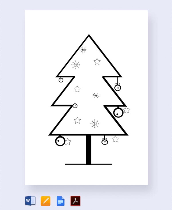 free bare christmas tree template for school1