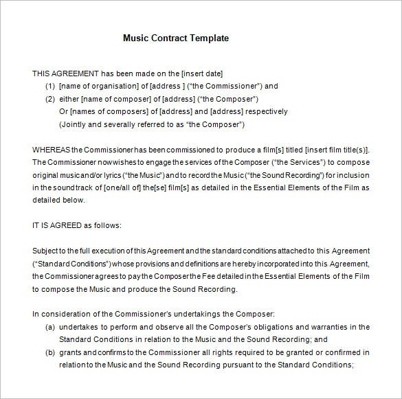 free basic music contract template download