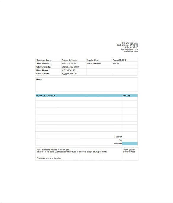 7 Estimate Invoice Templates Free Word PDF Excel Documents – Estimate Invoice Template