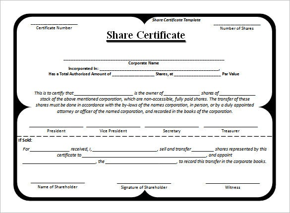 Share stock certificate template 21 free word pdf format free blank share certificate template download yadclub Gallery
