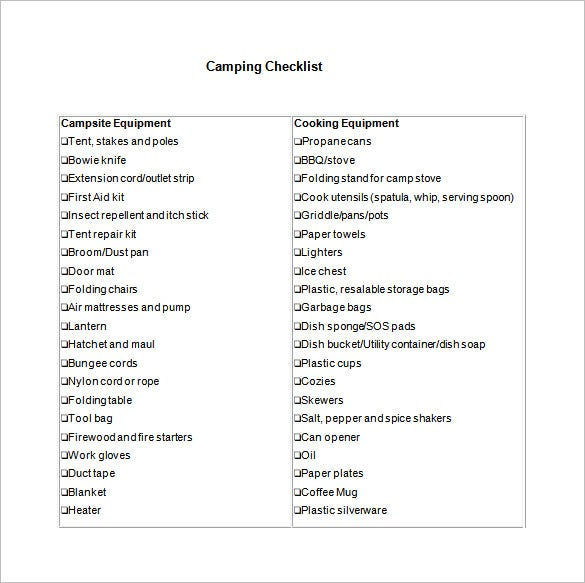 free camping check list template word download