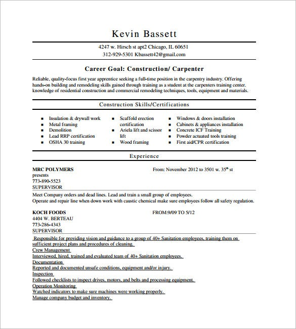 Carpenter Resume Template 9 Free Samples Examples
