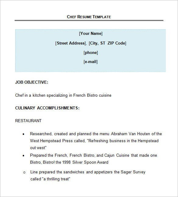 Sample Chef Resumes | Sample Resume And Free Resume Templates