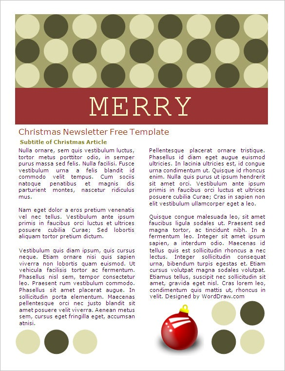 free christmas newsletter template word format