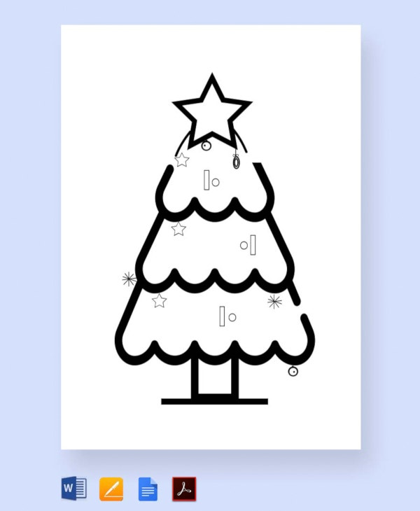 free christmas tree coloring for children template1