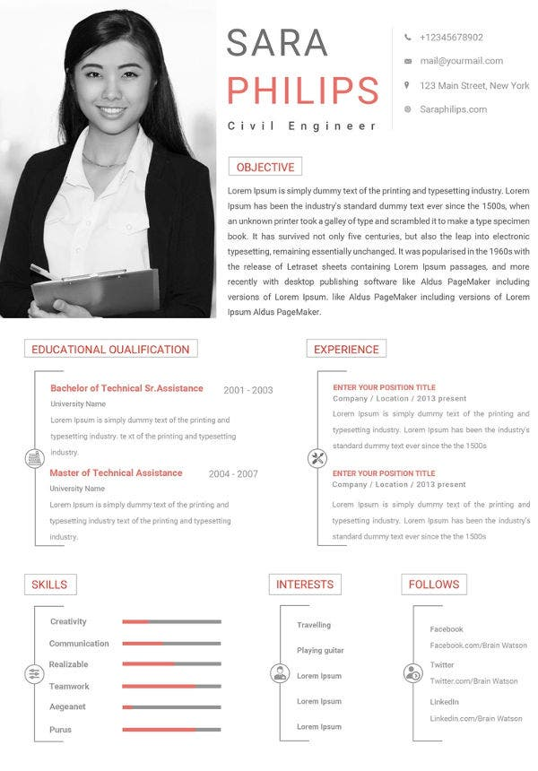 free civil engineer sample resume template
