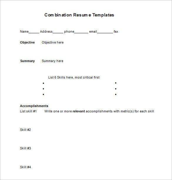 Free Combination Resume Word Format Download