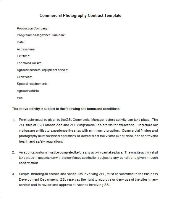 free commercial film photography contract download