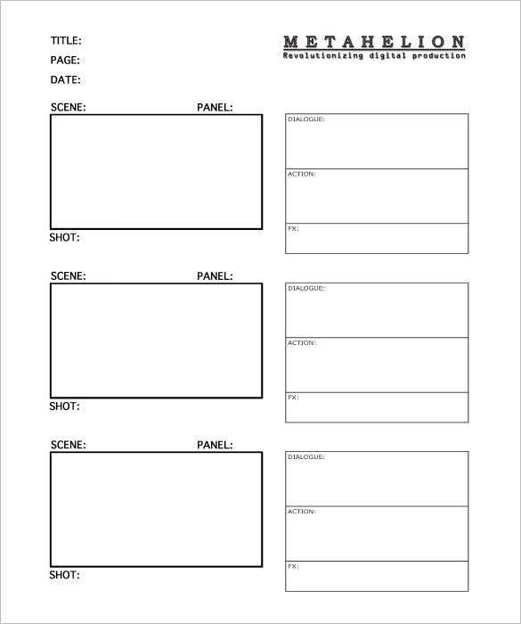 Commercial Storyboard Templates  Free Word Pdf Format