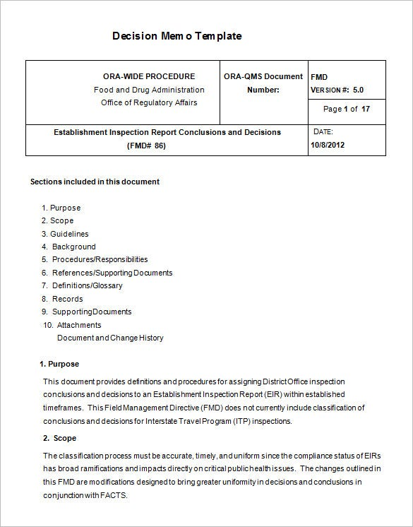Free Decision Memo Document Template Download