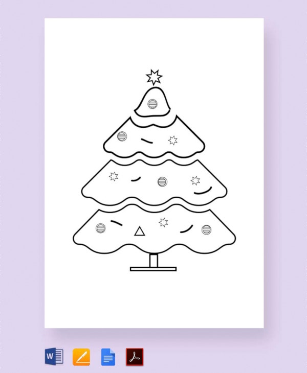 free decorated christmas tree template1