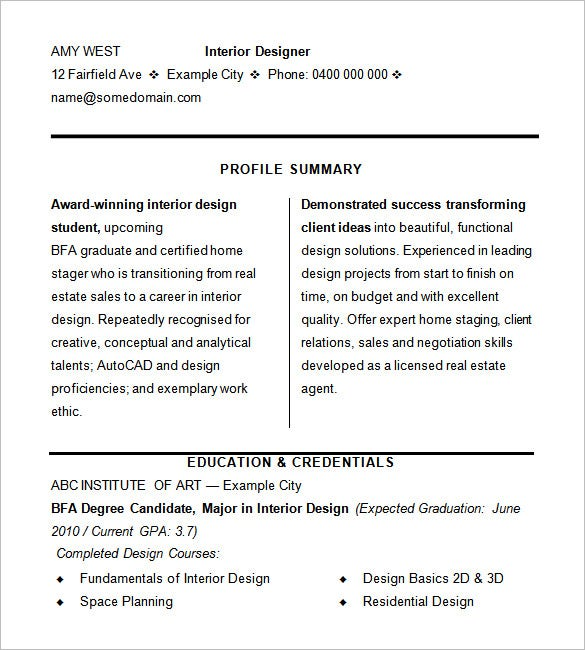 Interior Designer Resume Samples Sample Resume For Interior