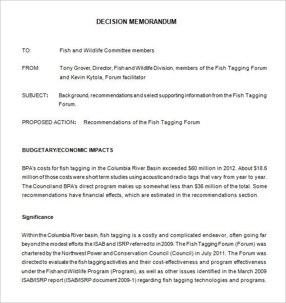 Free Download Army Decision Memo Template