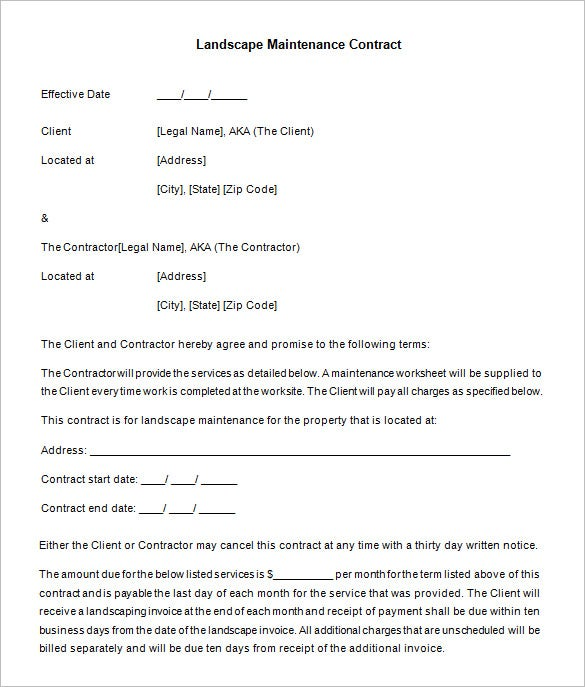 Yearly Contract Template Free Download Landscaping Maintenance