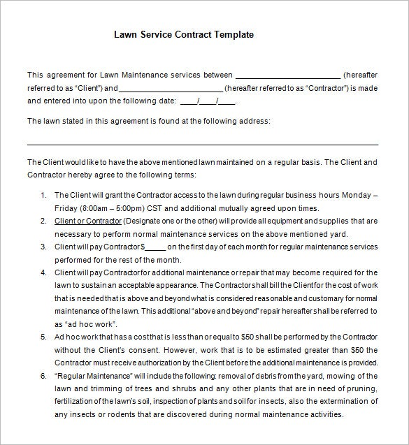 7 lawn service contract templates free word pdf for Garden maintenance contract template