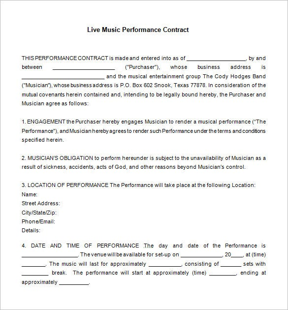 9 Music Contract Templates Free Word PDF Documents Download – Performance Contract Template