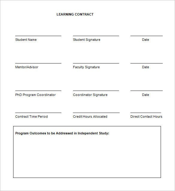 free download nursing learning contract