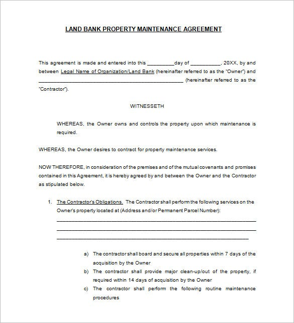 10 Maintenance Contract Templates Free Word PDF Documents – Property Agreement Template