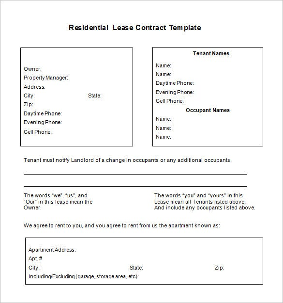 free download residential lease contract template