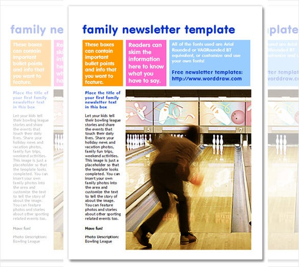 7 family newsletter templates free word documents for Free editable newsletter templates