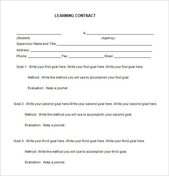 free elementary students learning contract download