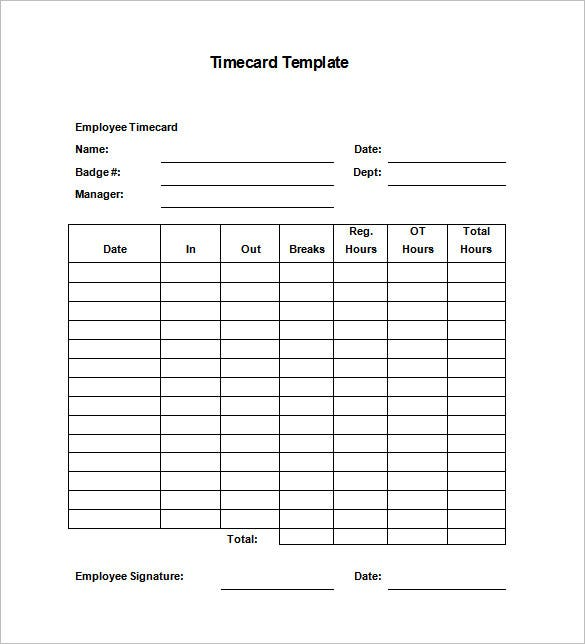 Printable Time Card Templates  Free Word Excel  Pdf Format