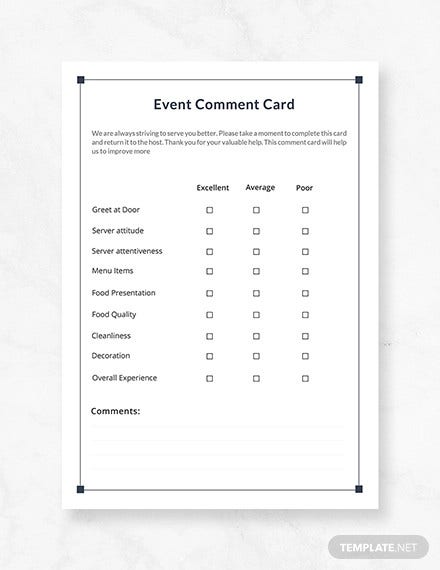 free event comment card template