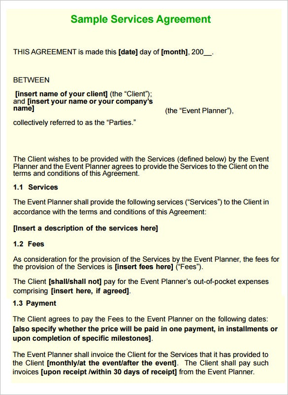 Event Planning Contract Samples Agreement for Event or Wedding – Wedding Planning Contract Templates