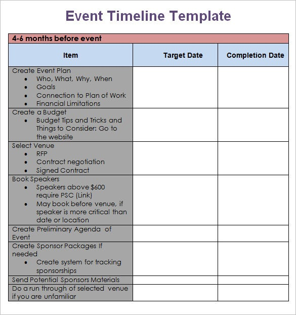 9 event timeline templates free sample example format for Planning a conference template