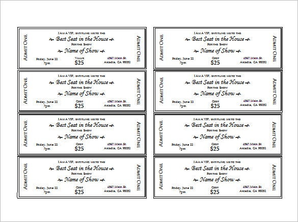Free Printable Event Tickets Template  PetitComingoutpolyCo