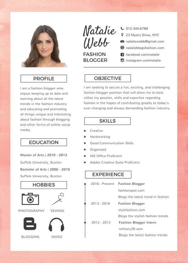 free-fashion-resume-template