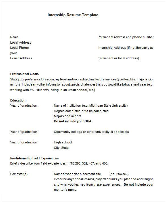 cv sample uk internship