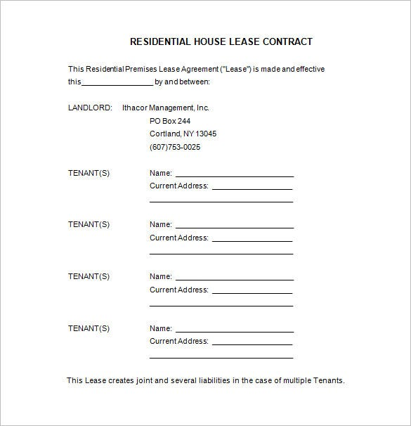 Free House Lease Contract Template Download